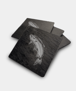Country Images Scotland Custom Customised Personalised Slate Coasters Scottish UK Box Set Twine Highland Collection Scottish Scotland Four Salmon