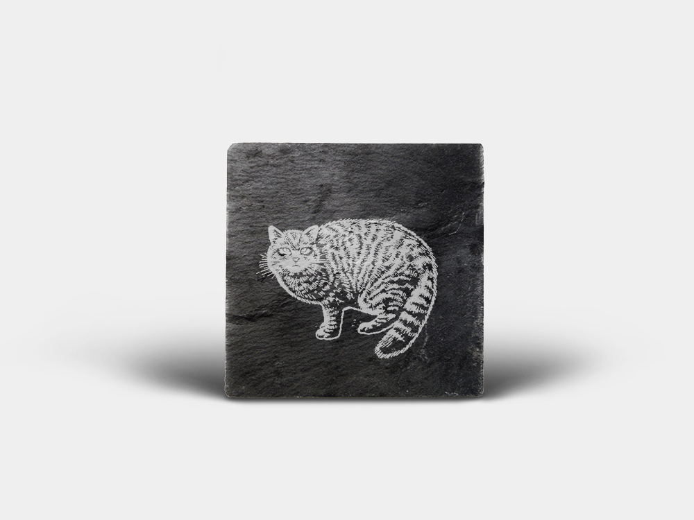 Country Images Scotland Custom Personalised Slate Coasters Highland Collection Engraved Scottish UK Wildcat Wildcats Wild Cat Nature Wildlife Animals
