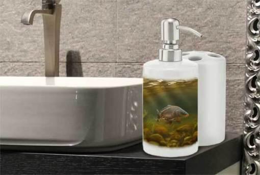 Bathroom Set Toothbrush Holder and Soap Dispenser (Mirror Carp) Personalised Gift