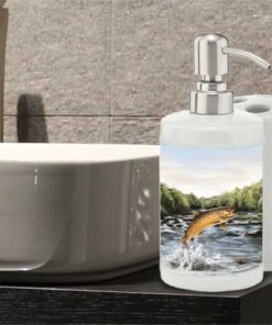 Highland Collection - Bathroom Set Toothbrush Holder and Soap Dispenser (Brown Trout) Personalised Gift