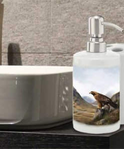 Highland Collection - Bathroom Set Toothbrush Holder and Soap Dispenser (Eagle) Personalised Gift