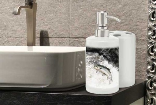 Highland Collection - Bathroom Set Toothbrush Holder and Soap Dispenser (Leaping Salmon) Personalised Gift
