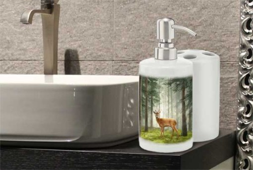 Highland Collection - Bathroom Set Toothbrush Holder and Soap Dispenser (Roe Buck) Personalised Gift