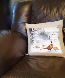 Highland Collection - Linen Style Cushion (Pheasant) Personalised Gift