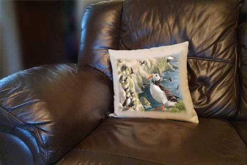 Highland Collection - Linen Style Cushion (Puffin) Personalised Gift