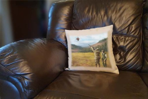 Linen Style Printed Cushion (Clay Shooting) Personalised Gift