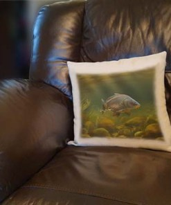 Linen Style Printed Cushion (Mirror Carp) Personalised Gift