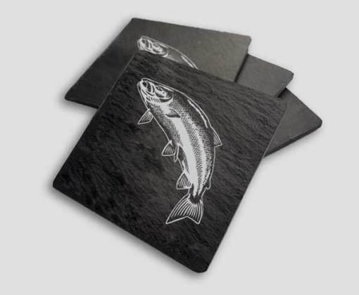 Slate Coaster Box Set Personalised Gift - Leaping Salmon Personalise Customise Custom Scotland Scottish Design