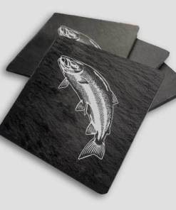 Slate Coaster Box Set Personalised Gift - Leaping Salmon Personalise Customise Custom Scotland Scottish Design