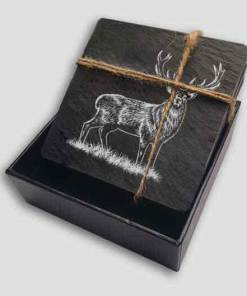 Slate Coaster Box Set Personalised Gift - Stag Personalise Customise Custom Scotland Scottish Design