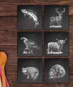 Slate Coaster Box Set Personalised Gift - Wildlife Mix and Match Personalise Customise Custom Scotland Scottish Design