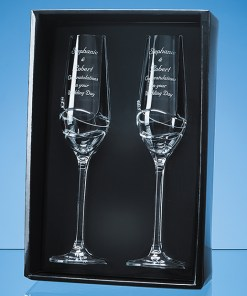 Personalised Engraved Diamante Pair of Champagne Flutes (Modena) Scotland UK Custom Customised Gift Gifts Scottish