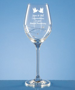 Personalised Engraved Diamante Wine Glass (Spiral) Crystal Scotland UK