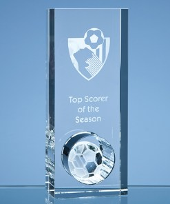 Personalised Engraved Football Award Sports Club Presentation Glass Scotland UK Customised Optical Crystal Soccer