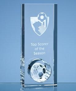 Personalised Engraved Football Award Sports Club Presentation Glass Scotland UK Customised Optical Crystal Soccer