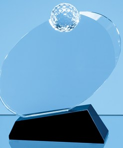 Personalised Engraved Golf Award Sports Club Presentation Glass Scotland UK Customised with Onyx Black Base