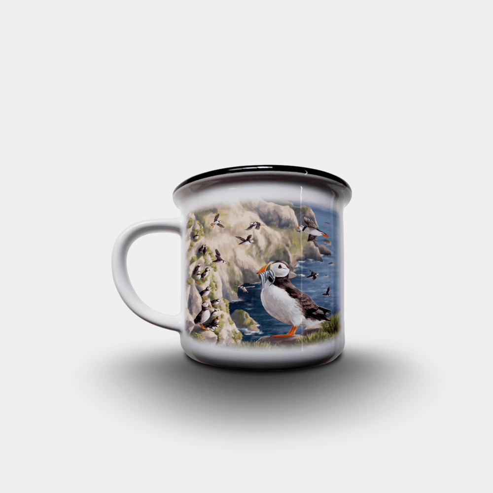 Country Images Personalised Custom Printed White Black Mug Scotland Cheap Highland Collection Puffin Puffins Pufflings Coastal Birds Seabirds Wildlife Gift Gifts 2