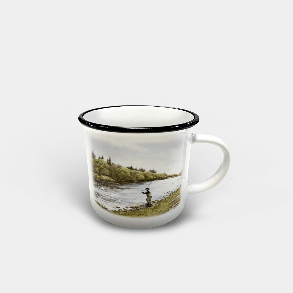 Country Images Personalised Custom Printed White Black Mug Scotland Cheap Highland Collection Fly Fishing Angling Angler Gift Gifts