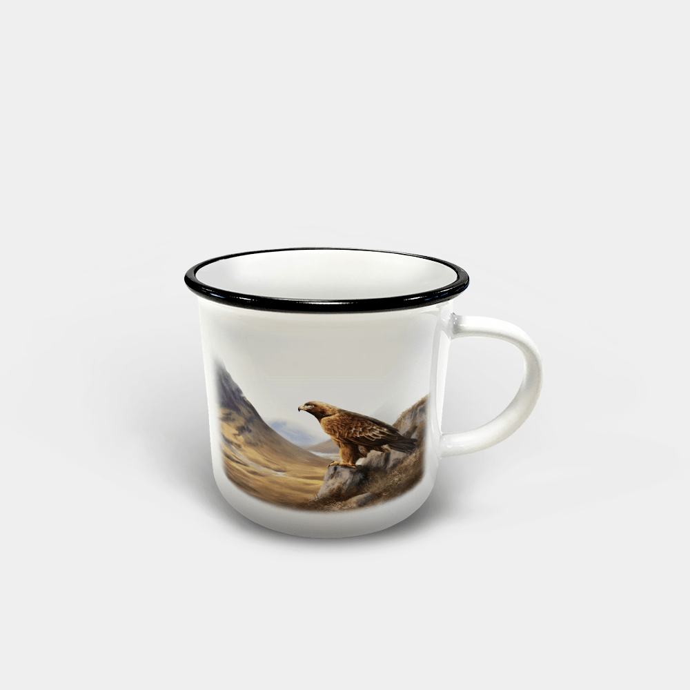 Country Images Personalised Custom Printed White Black Mug Scotland Cheap Highland Collection Golden Eagle Bird Birds of Prey Wildlife Gift Gifts