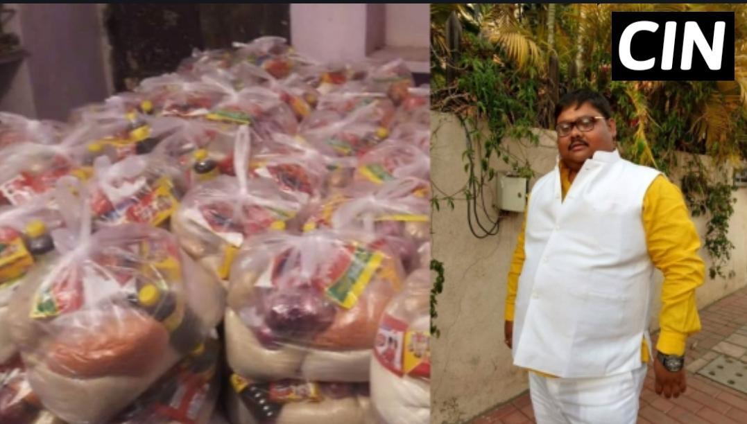 छपरा /गरीबों और सफाई कर्मचारी को अन्न बाटते युवा नेता राजीव सिंह