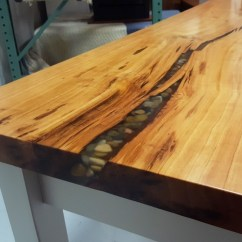 Amish Kitchen Tables Work Station Cherry Live Edge Slab Desk | Made ...
