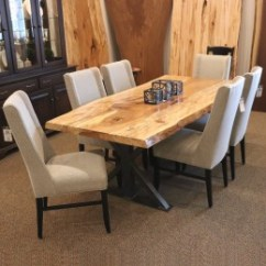 Live Edge Kitchen Table Large Sink Dimensions Tables Amish Furniture Spalted Sycamore Slab Set