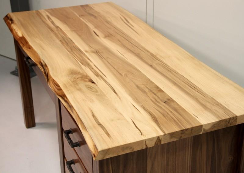 amish made kitchen cabinets table sets target custom walnut & maple live edge desk  desk ...