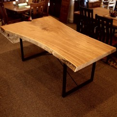 Solid Wood Kitchen Table Hotel With Hong Kong Elm Live Edge Slab | Hardwood Furniture ...