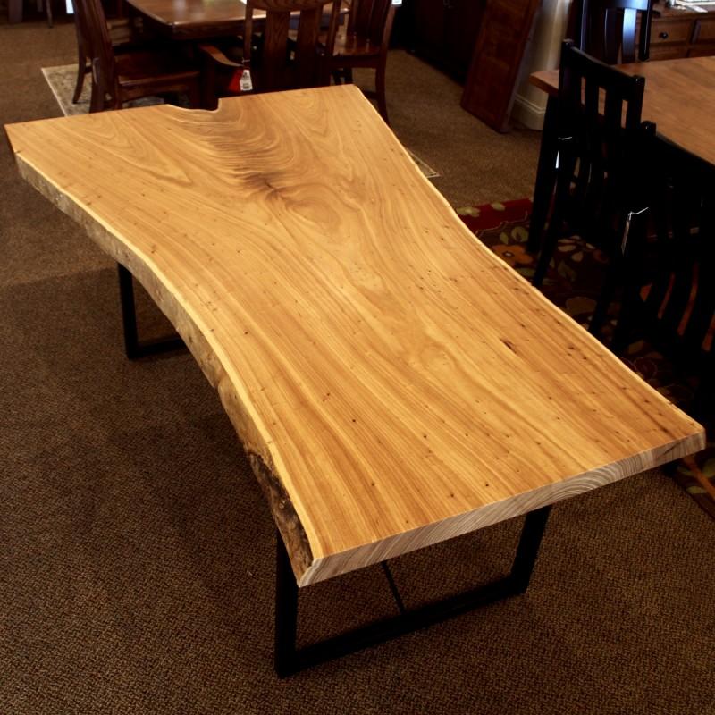 Elm Live Edge SLAB Table  Solid Hardwood Furniture