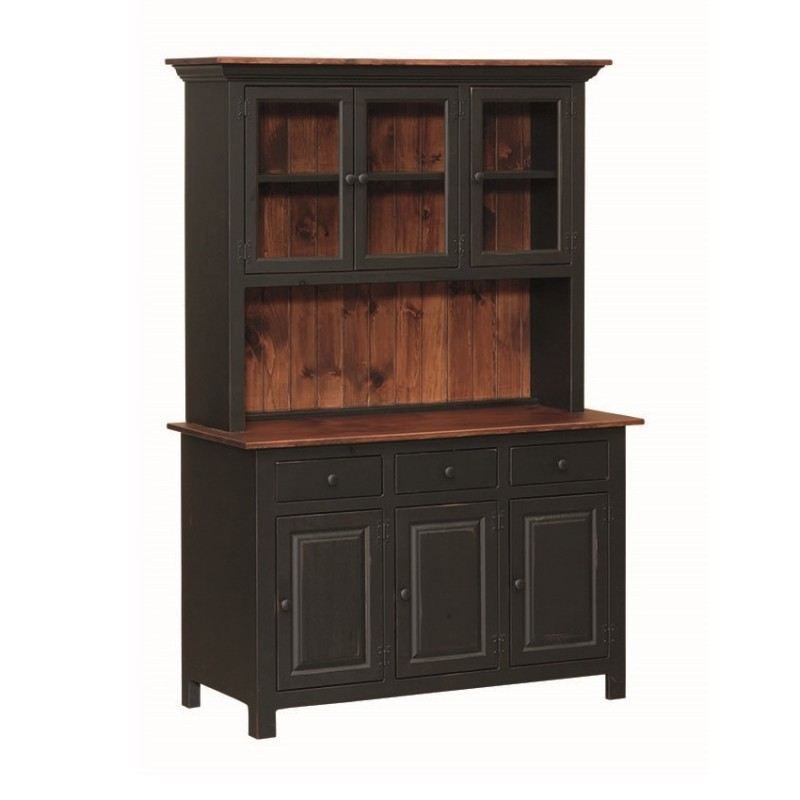 solid wood toy kitchen ikea sink pine 3 door open hutch | amish ...
