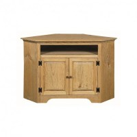 Pine Small Corner TV Stand With Opening
