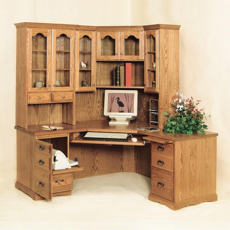 Traditional Corner Desk  Hutch  Amish Traditional Corner