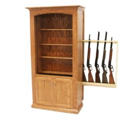 High Back Oak Dining Chairs Genuine Leather Chair And Ottoman Hidden Gun Storage Bookcase   Amish Cabinet - Country Lane Furniture