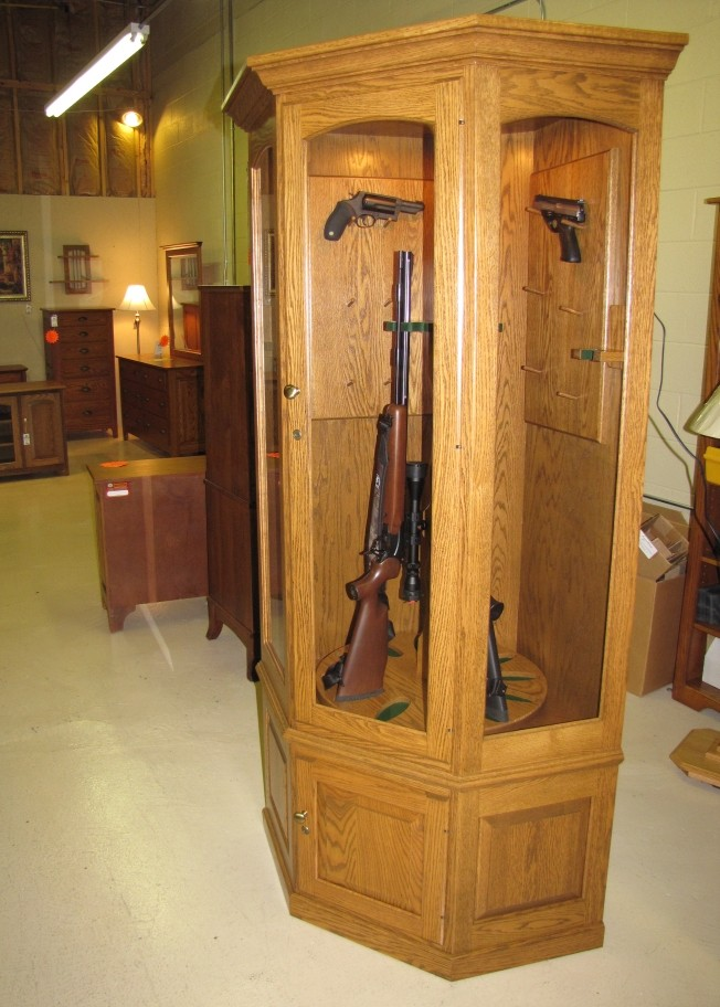 Custom Oak Corner Gun Cabinets  Country Lane Furniture