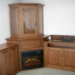 Solid Wood Toy Kitchen F Custom Corner Fireplace Wall Unit | Amish ...