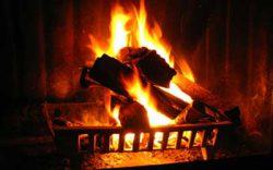 A roaring fire