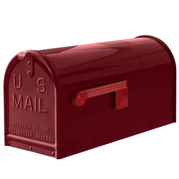 A burgundy oversized Janzer Mailbox