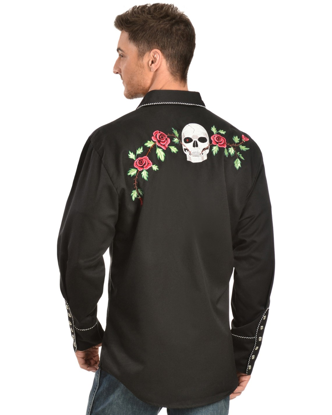 Download Scully Skull & Roses Embroidered Retro Western Shirt ...
