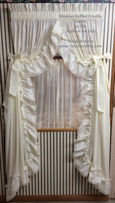 Country Ruffled Priscilla Window Curtains