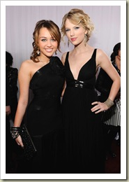 Miley Cyrus and Taylor Swift arrives to the 51st Annual GRAMMY A