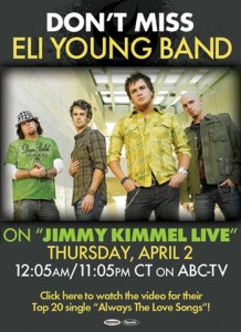 Eli Young on Jimmy Kimmel Live – tonight!