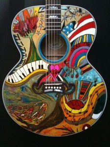 """Custom painted, autographed Gibson Guitar up for grabs on ebay–all proceeds to benefit """"Hear the Music Live"""""""