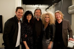 Little Big Town meets big star backstage on the set of Jimmy Kimmel Live
