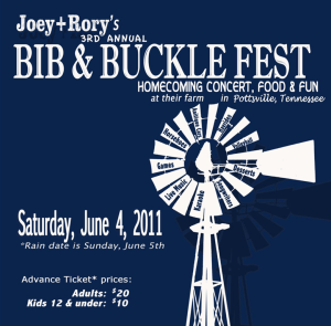Tickets on sale for Joey + Rory's  3rd annual Bib and Buckle Fest