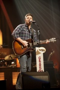 "Chris  Young sings ""Don't Close Your Eyes,"" on GAC's Opry Live, Oct. 29, playing Keith Whitley's guitar"