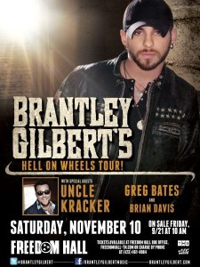 """Hell On Wheels"" tour to bring Brantley Gilbert back to Johnson City, Tenn."
