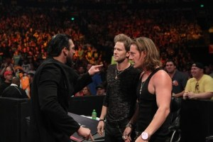 FGL's Brian Kelley and Tyler Hubbard have words with The Miz's stunt double Damien Sandow Ringside
