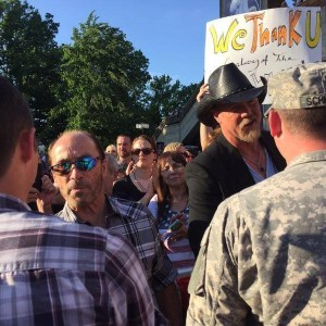 Lee Greenwood and Trace Adkins welcome military personnel to Grand Ole Opry