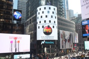 Music Charts Magazine® logo proudly flies high on the Nasdaq MarketSiteTower in New York City's world famous Times Square
