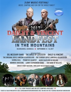 Dailey & Vincent Landfest In The Mountains, 3-Day Music Festival Presented By Springer Mountain Farms Set For September 14-16 In Hiawassee, Georgia